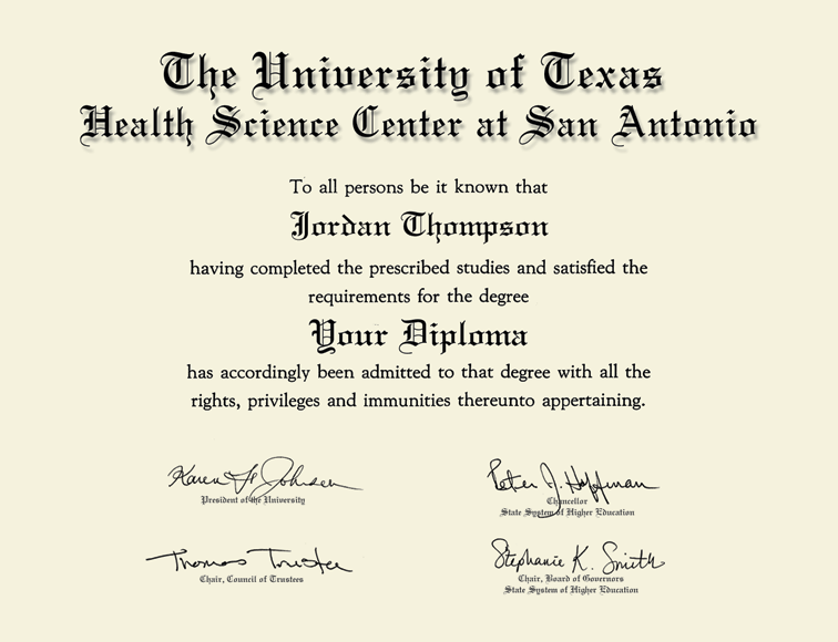 The University Of Texas Health Science Center At San Antonio Gold Embossed Diploma Frame In Murano Item 334551 Tdy From The University Of Texas Health Science Center
