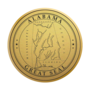 Alabama Engraved Medallion Gold Insignia