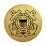 Coast Guard Engraved Medallion Gold Insignia