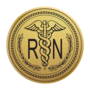 Nursing RN Gold Engraved Medallion Insignia