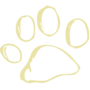 Paw Print Embossed Gold Insignia