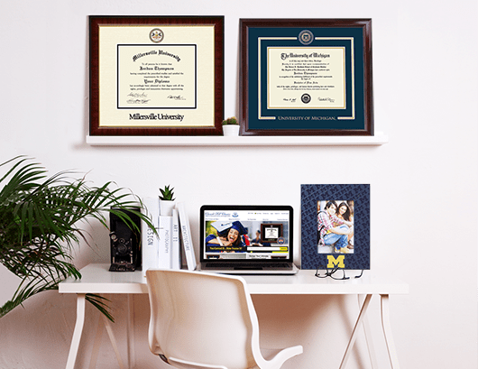 Dimensions Diploma Frame On Display In A Home Office