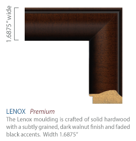 Lenox Moulding - solid hardwood with a subtly grained, dark walnut finish