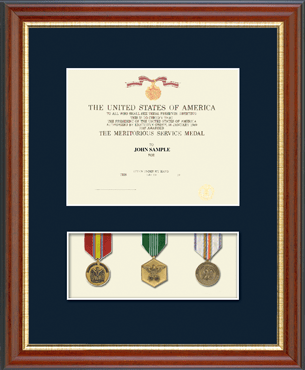 Military Certificate and Medal Display Frame - (Navy) in Newport