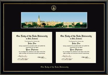 Gold Embossed Double Diploma Campus Scene Frame in Onyx Gold