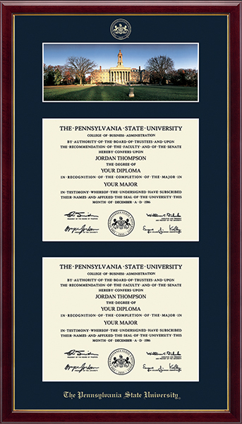 Double Campus Scene Diploma Frame - Old Main in Galleria