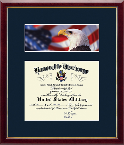 Honorable Discharge Certificate Frame - Flag with Eagle in Galleria