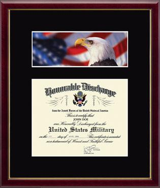 US Marines Photo and Honorable Discharge Certificate - Flag and Eagle in Galleria