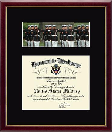 US Marines Photo and Honorable Discharge Certificate - Marines in Galleria