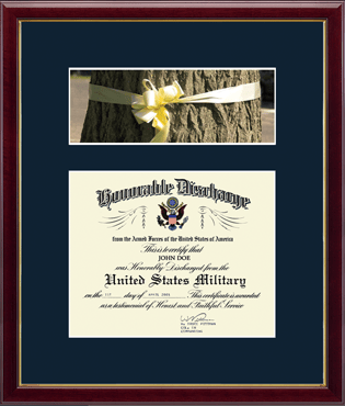 US Navy Photo and Honorable Discharge Certificate Frame - Ribbon in Galleria