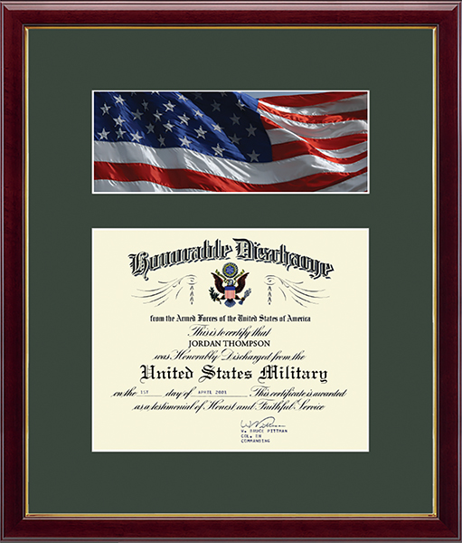 US Army Photo and Honorable Discharge Certificate Frame - Flag in Galleria