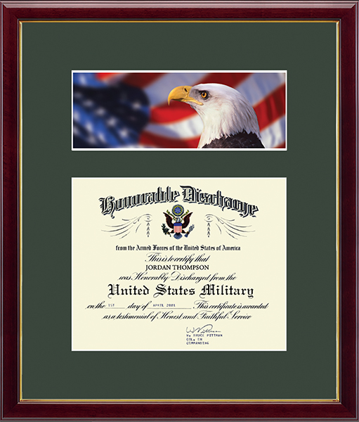 US Army Photo and Honorable Discharge Certificate Frame - Flag with Eagle in Galleria