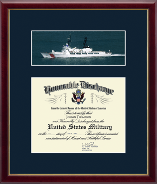 US Coast Guard Photo and Honorable Discharge Certificate Frame - Coast Guard Ship in Galleria