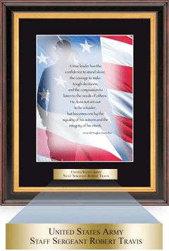 Military Gratitude Frame - Salute Image with Brass Plate in Verona