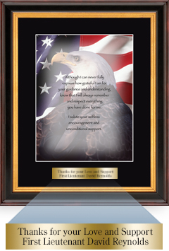 Military Gratitude Frame - Eagle Image with Brass Plate in Verona