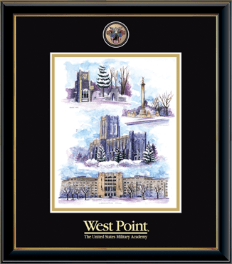 Masterpiece Medallion Winter Collage Litho Frame in Onexa Gold