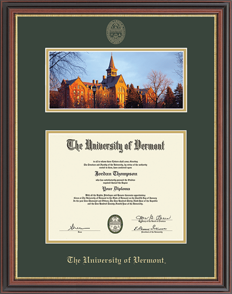Campus Scene Diploma Frame in Regency Gold
