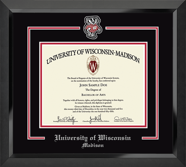 Bucky Badger Diploma Frame in Eclipse