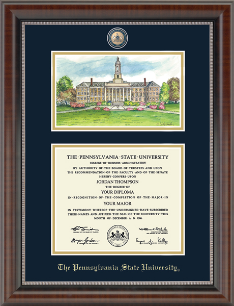 Campus Scene Masterpiece Diploma Frame in Chateau