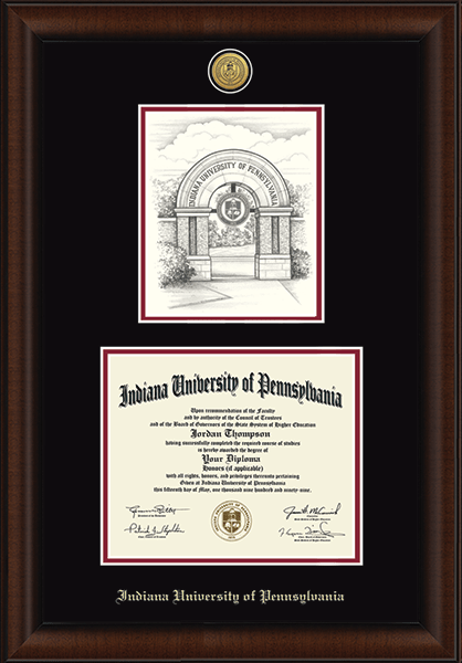 Gold Engraved Campus Scene Diploma Frame in Lenox