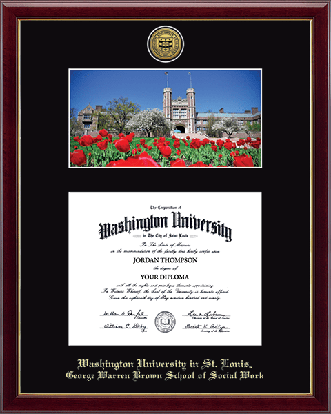 Gold Engraved Medallion Campus Scene Diploma Frame in Galleria