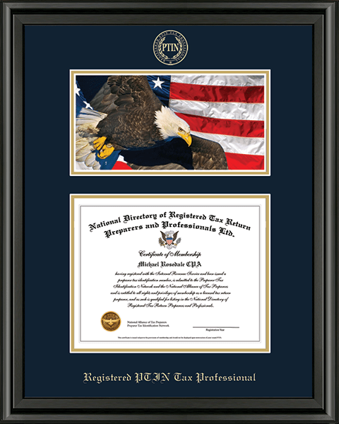 Registered PTIN Tax Professional Campus Scene Certificate Frame in Midnight