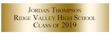 Personalized Engraved Plate - Gold - 3-lines for Varsity Letter Frame
